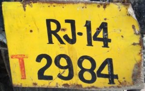 Unauthorised license plate from Rajastan, India